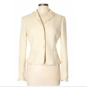 Elie Tahari Cream Tweed Blazer Size M
